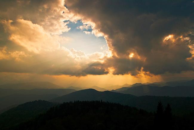 Storm clouds and sunbeams over the Nantahala, Blue Ridge Parkway