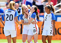 Houston, TX - April 9, 2017: The U.S. Women's national team go up 3-0 over Russia with Rose Lavelle and Crystal Dunn contributing goals in an international friendly match at BBVA Compass Stadium.