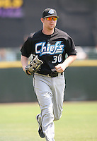 2007:  Adam Lind of the Syracuse Chiefs, Class-AAA affiliate of the Toronto Blue Jays, during the International League baseball season.  Photo By Mike Janes/Four Seam Images