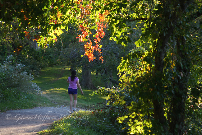 Woman walking on path surrounded by trees.