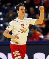 Hans Lindberg of Denmark celebrate goal during men`s EHF EURO 2012 championship semifinal handball game between Denmark and Spain in Belgrade, Serbia, Friday, January 27, 2011.  (photo: Pedja Milosavljevic / thepedja@gmail.com / +381641260959)