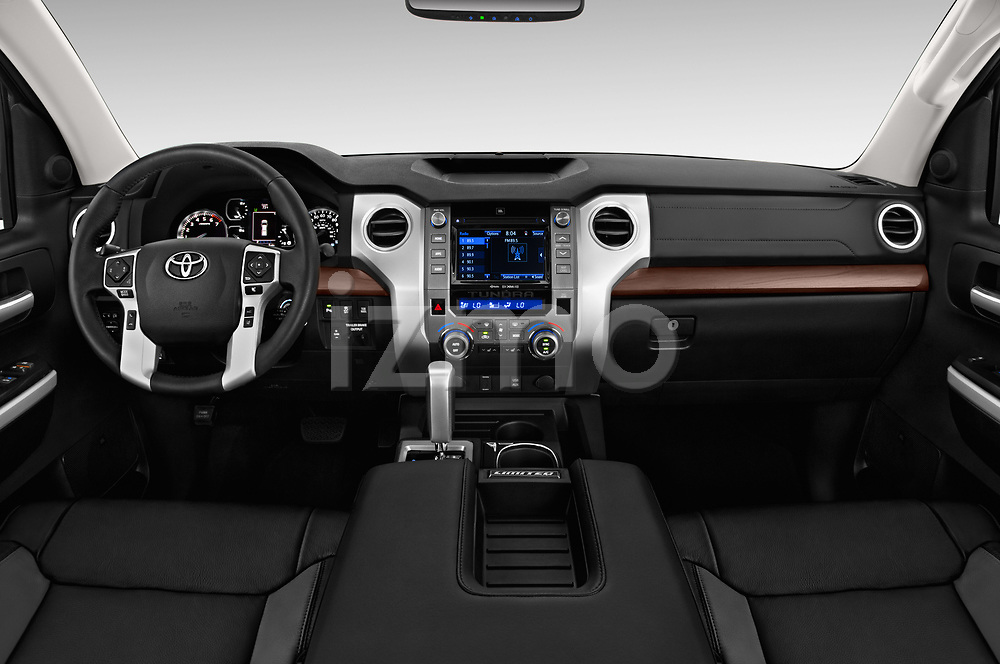Stock photo of straight dashboard view of 2018 Toyota Tundra Limited-Crew-Max-Short-Bed 4 Door Pickup Dashboard