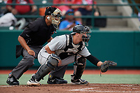 Umpire Jon-Tyler Shaw and Tri-City ValleyCats catcher Korey Lee (35) during a NY-Penn League game against the Brooklyn Cyclones on August 17, 2019 at MCU Park in Brooklyn, New York.  Brooklyn defeated Tri-City 2-1.  (Mike Janes/Four Seam Images)