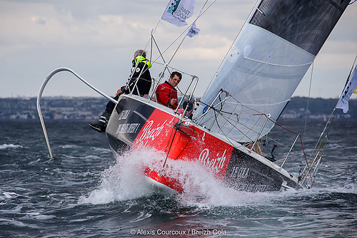 Ireland's Tom Dolan racing with Gildas Mahé on Breizh Cola are lying in fourth place