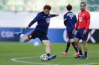ST. GALLEN, SWITZERLAND - MAY 30: Josh Sargent #9 of the United States warming up during a game between Switzerland and USMNT at Kybunpark on May 30, 2021 in St. Gallen, Switzerland.