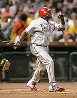 Philadelphia Phillies 1B Ryan Howard hits a HR on Thursday May 22nd at Minute Maid Park in Houston, Texas. Photo by Andrew Woolley / Four Seam Images...