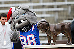 The  Louisiana Tech Bulldog mascot in action during the Heart of Dallas Bowl Bowl game between the Illinois Fighting Illini and the Louisiana Tech Bulldogs at the Cotton Bowl Stadium in Dallas, Texas. Louisiana defeats Illinois 35 to 18.