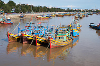 Fishing Trawlers and Boats viewed from the Tran Hung Dao Bridge in Phan Thiet City, Binh Thuan Province, Vietnam