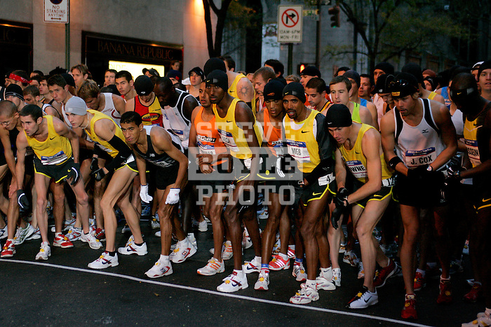 Runners prepare for the start of the 2008 Men's Olympic Trials Marathon on November 3, 2007 in New York, New York.  The race began at 50th Street and Fifth Avenue and finished in Central Park.  Ryan Hall won the race with a time of 2:09:02.