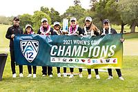 STANFORD, CA - APRIL 25: Justin Silverstein, Alyaa Abdulghany, Allisen Corpuz, Brianna Navarrosa, Amelia Garvey, Malia Nam, Katie Woodruff at Stanford Golf Course on April 25, 2021 in Stanford, California.