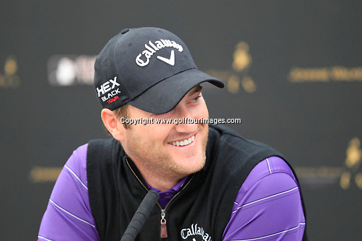 Marc WARREN (SCO) speak to the media ahead of the 2013 Johnnie Walker Championship being played over the PGA Centenary Course, Gleneagles, Perthshire from 22nd to 25th August 2013: Picture Stuart Adams www.golftourimages.com: 21st August 2013