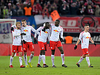 18.03.2018,  Football 1.Liga 2017/2018, 27. match day, RB Leipzig - FC Bayern Muenchen, in Red Bull Arena Leipzig. celebration , v.li: Konrad Laimer (RB Leipzig), Stefan Ilsanker (RB Leipzig), Dayot Upamecano (RB Leipzig), Ibrahima Konate (RB Leipzig). *** Local Caption *** © pixathlon<br /> <br /> Contact: +49-40-22 63 02 60 , info@pixathlon.de