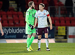 St Johnstone v Hearts…30.10.19   McDiarmid Park   SPFL<br />Zander Clark and Christophe Berra at full time<br />Picture by Graeme Hart.<br />Copyright Perthshire Picture Agency<br />Tel: 01738 623350  Mobile: 07990 594431
