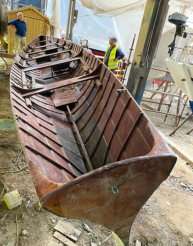 All is revealed as Lorelei is turned for the first time in years – this was George Bushe's 1953 take on a serious racing skiff. Photo: Darryl Hughes