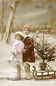 Jonny, CHILDREN, nostalgic, paintings, 2 girls, sleigh(GBJJ36,#K#) Kinder, niños, nostalgisch, nostálgico