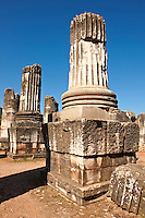Temple of Artimis Sardis, originally the fourth largest Ionic temple when it was originally built in 300 B.C. In 150 AD under Roman rule when the worship  of the Emperor required all Roman cities to have a Temple dedicated to the Imperial family. The temple of Artimis was split into two sections with one half for Artemis and the Empress Faustina and the other for Zeus and Emperor Antoninus Pius and the present construction shows elements of Greek and Roman styles. Sardis archaeological site, Hermus valley, Turkey.  A Harvard Art Museum excavation project.