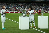 Real Madrid's Sergio Ramos and Marcelo during the XXXVII Bernabeu trophy between Real Madrid and Stade de Reims at the Santiago Bernabeu Stadium. August 15, 2016. (ALTERPHOTOS/Rodrigo Jimenez) /NORTEPHOTO
