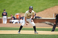 Jake Mueller (6) of the Wake Forest Demon Deacons takes his lead off of first base against the Virginia Cavaliers at David F. Couch Ballpark on May 19, 2018 in  Winston-Salem, North Carolina. The Demon Deacons defeated the Cavaliers 18-12. (Brian Westerholt/Four Seam Images)