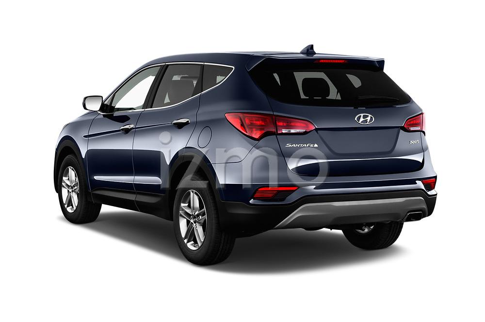 Car pictures of rear three quarter view of a 2018 Hyundai Santa Fe Sport Base 5 Door SUV angular rear