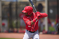 Washington Nationals Yasel Antuna (5) bats during a Minor League Spring Training game against the Houston Astros on April 27, 2021 at FITTEAM Ballpark of the Palm Beaches in Palm Beach, Fla.  (Mike Janes/Four Seam Images)