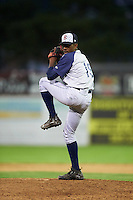 Brooklyn Cyclones relief pitcher Justin Dunn (19) delivers a warmup pitch during a game against the Batavia Muckdogs on July 4, 2016 at Dwyer Stadium in Batavia, New York.  Brooklyn defeated Batavia 5-1.  (Mike Janes/Four Seam Images)