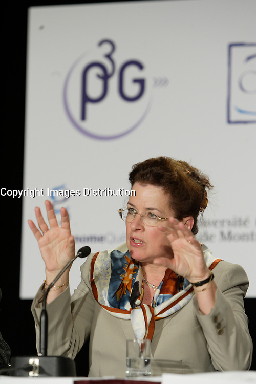 Montreal (QC) CANADA, May 22 2007-<br /> <br /> Prof Bartha-Maria Knoppers, Canada research Chair in Law and Medicine at the University of Montreal speak at the<br /> Press conference of P3G (public Population Projet) in Genomics to foster harmonization genomic data collection and to share those datas.<br /> <br /> photo : (c) Pierre Roussel -  images Distribution