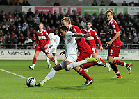 ATTENTION SPORTS PICTURE DESK<br /> Pictured L-R: Scott Sinclair of Swansea crosses the ball while challenged by Tony McMahon of Middlesbrough<br /> Re: npower Championship, Swansea City FC v Middlesbrough Football Club at the Liberty Stadium, south Wales. Sunday 14 November 2010