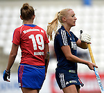 GER - Mannheim, Germany, September 06: During the women hockey test match between Blau-Weiss Koeln (blue) and Feudenheimer HC (red) on September 6, 2015 at Mannheimer Hockey Club in Mannheim, Germany. (Photo by Dirk Markgraf / www.265-images.com) *** Local caption ***