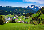 Austria, Salzburger Land, Tennengau, Russbach am Pass Gschuett with Tennen Mountains   Oesterreich, Salzburger Land, Tennengau, Russbach am Pass Gschuett vorm Tennengebirge
