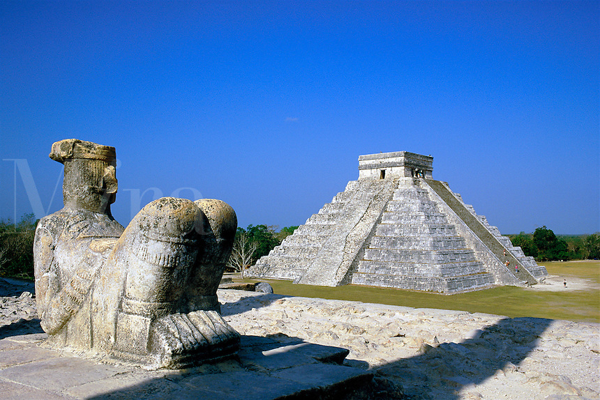 Mexico,Chichen Itza, El Castillo. view from The Temple of the Warriors towards El Castillo statue Chac Mool was the Mayan rain god Mexico Yucatan Chichen Itza