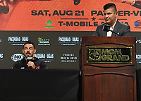 LAS VEGAS, NV - AUG 19:  Robert Guerrero and Ray Flores at the undercard press conference at the MGM Grand Garden Arena on August 19, 2021 for the upcoming Fox Sports PBC pay-per-view fight in Las Vegas, Nevada. Pacquaio vs Ugas pay-per-view will be on August 21 at T-Mobile Arena in Las Vegas. (Photo by Scott Kirkland/Fox Sports/PictureGroup)
