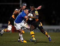 Photo: Richard Lane/Richard Lane Photography. London Wasps v Leinster Rugby. Amlin Challenge Cup Quarter Final. 05/04/2013. Wasps' Christian Wade breaks for his second try.