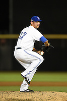 Dunedin Blue Jays pitcher Scott Silverstein (37) delivers a pitch during a game against the Brevard County Manatees on April 23, 2015 at Florida Auto Exchange Stadium in Dunedin, Florida.  Brevard County defeated Dunedin 10-6.  (Mike Janes/Four Seam Images)