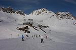 Skiers atop Valfagehr Chairlift, St Anton Ski Area, Austria,