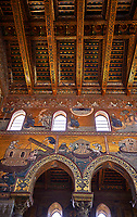 South wall mosaics depicting the bibliacl story of Noah in the Norman-Byzantine medieval cathedral  of Monreale,  province of Palermo, Sicily, Italy.