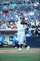Luis Campusano-Bracero (6) of the East Team bats against the West Team during the Perfect Game All American Classic at Petco Park on August 14, 2016 in San Diego, California. West Team defeated the East Team, 13-0. (Larry Goren/Four Seam Images)