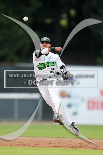 Jamestown Jammers shortstop Noah Perio (2) during a game vs. the Staten Island Yankees at Russell Diethrick Park in Jamestown Jammers, New York July 15, 2010.   Jamestown defeated Staten Island 5-1.  Photo By Mike Janes/Four Seam Images