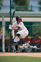 GCL Pirates Emilson Rosado (10) at bat during a Gulf Coast League game against the GCL Twins on August 6, 2019 at Pirate City in Bradenton, Florida.  GCL Twins defeated the GCL Pirates 1-0 in the second game of a doubleheader.  (Mike Janes/Four Seam Images)