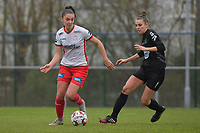 Zulte Waregem's Romy Camps (L) and Woluwe's Sheila Broos (R)  pictured during a female soccer game between SV Zulte - Waregem and White Star Woluwe on the 9th matchday of the 2020 - 2021 season of Belgian Scooore Women s SuperLeague , saturday 12 th of December 2020  in Waregem , Belgium . PHOTO SPORTPIX.BE | SPP | DIRK VUYLSTEKE