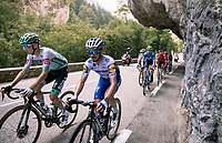 (eventua stage winner) Lennard Kämna (DEU/Bora-Hansgrohe)  & Julian Alaphilippe (FRA/Deceuninck-QuickStep) are part of the large breakaway group on their way to the Col de Porte<br /> <br /> Stage 16 from La Tour-du-Pin to Villard-de-Lans (164km)<br /> <br /> 107th Tour de France 2020 (2.UWT)<br /> (the 'postponed edition' held in september)<br /> <br /> ©kramon