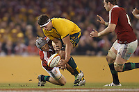 MELBOURNE, 29 JUNE 2013 - Jonathan DAVIES of the Lions fights for the ball during the Second Test match between the Australian Wallabies and the British & Irish Lions at Etihad Stadium on 29 June 2013 in Melbourne, Australia. (Photo Sydney Low / sydlow.com)