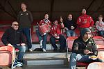 "The Fleet football team supporters at the ""home end"". Ebbsfleet v Tunbridge. Ebbsfleet Valley Kent UK. 2014 Fleet football team supporters at the ""home end"". Ebbsfleet v Tunbridge. Ebbsfleet Valley Kent UK. 2014"