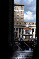 Pope Benedict XVI blesses his faithful as he leads his Angelus in Saint Peter's Square at the Vatican March 9, 2008