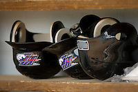 Winston-Salem Dash batting helmets at Pfitzner Stadium June 10, 2009 in Woodbridge, Virginia. (Photo by Brian Westerholt / Four Seam Images)