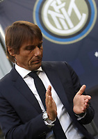 Football Soccer: UEFA Champions League -Group Stage- Group F Internazionale Milano vs  SK Slavia Praha, Giuseppe Meazza stadium, September 17, 2019.<br /> Inter's coach Antonio Conte prior to the Uefa Champions League football match between Internazionale Milano and Slavia Praha at Giuseppe Meazza (San Siro) stadium, September 17, 2019.<br /> UPDATE IMAGES PRESS/Isabella Bonotto