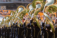 The Pitt band lines up for team to take the field. The Pitt Panthers defeated the Virginia Cavaliers 14-3 at Heinz Field, Pittsburgh, PA on Saturday, September 28, 2013.