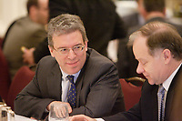 """Montreal (QC) CANADA, April 7, 2008- <br /> <br /> Tom Albanese, Chief Executive Officer of Rio Tinto, at the Canadian Club of Montreal's podium where he spoke about<br /> """"Rio Tinto: A world leader in mining and minerals, creating value and<br />     opportunity for Québec and Canada"""".<br /> On his right : Raymond Bachand , Minister of Economic Development, Innovation and Trade, Quebec.<br /> <br /> <br /> photo : (c) ¨Pierre Roussel -  images Distribution"""