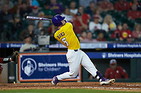 Drew Bianco (5) of the LSU Tigers follows through on his swing against the Oklahoma Sooners in game seven of the 2020 Shriners Hospitals for Children College Classic at Minute Maid Park on March 1, 2020 in Houston, Texas. The Sooners defeated the Tigers 1-0. (Brian Westerholt/Four Seam Images)