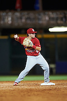 Palm Beach Cardinals second baseman Dylan Tice (8) throws to first during a game against the Bradenton Marauders on August 8, 2016 at McKechnie Field in Bradenton, Florida.  Bradenton defeated Palm Beach 5-4 in 11 innings.  (Mike Janes/Four Seam Images)