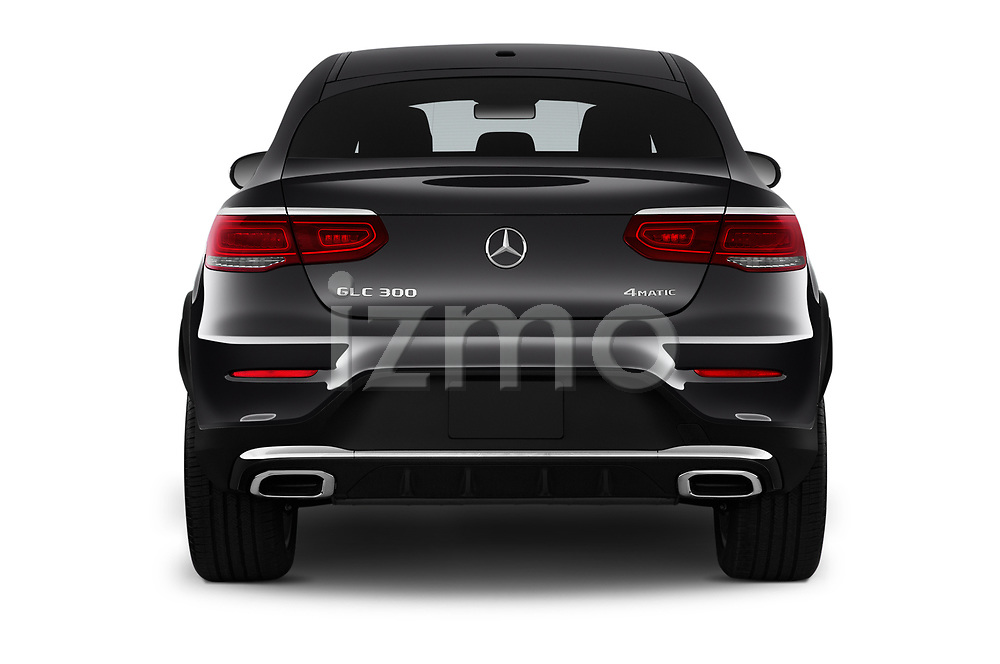 Straight rear view of 2020 Mercedes Benz GLC-Coupe GLC300 5 Door SUV Rear View  stock images